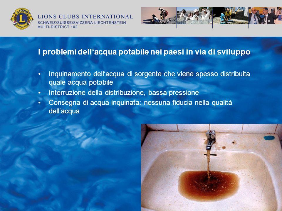 I problemi dellacqua potabile nei paesi in via di sviluppo Inquinamento dellacqua di sorgente che viene spesso distribuita quale acqua potabile Interr