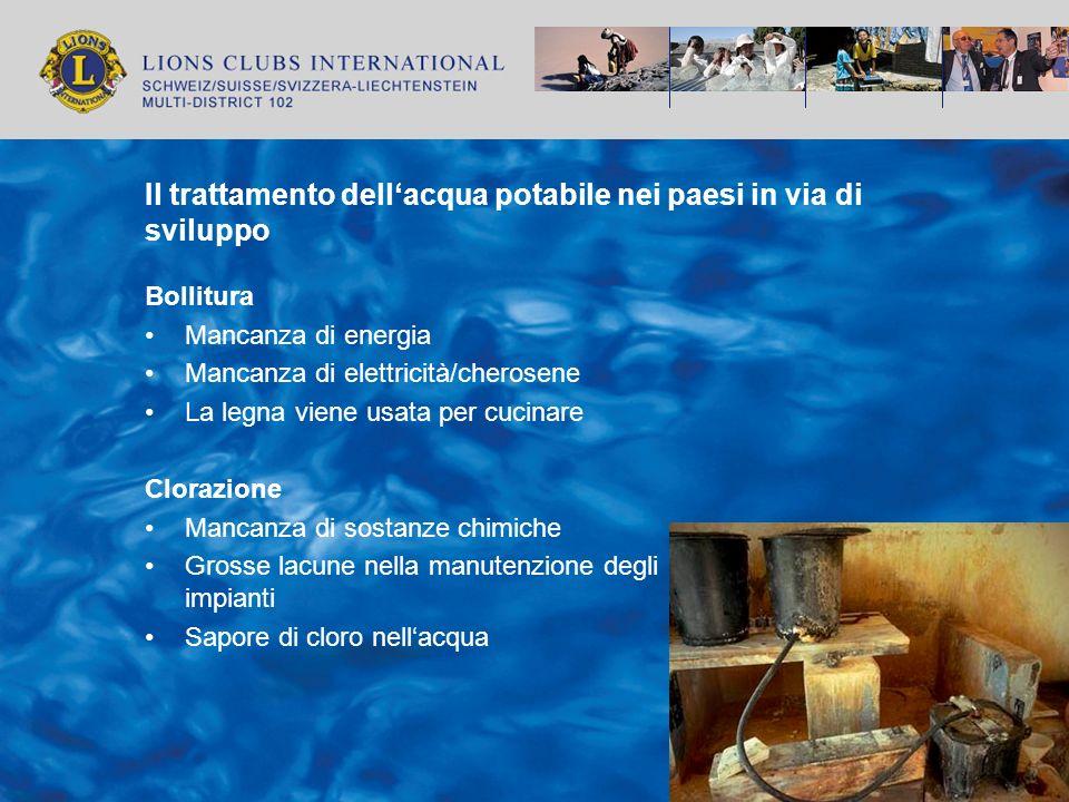 Il trattamento dellacqua potabile nei paesi in via di sviluppo Bollitura Mancanza di energia Mancanza di elettricità/cherosene La legna viene usata pe