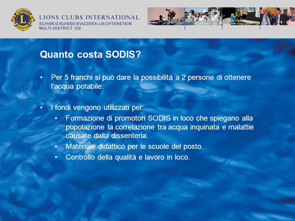 Quanto costa SODIS? Per 5 franchi si può dare la possibilità a 2 persone di ottenere lacqua potabile. I fondi vengono utilizzati per: Formazione di pr
