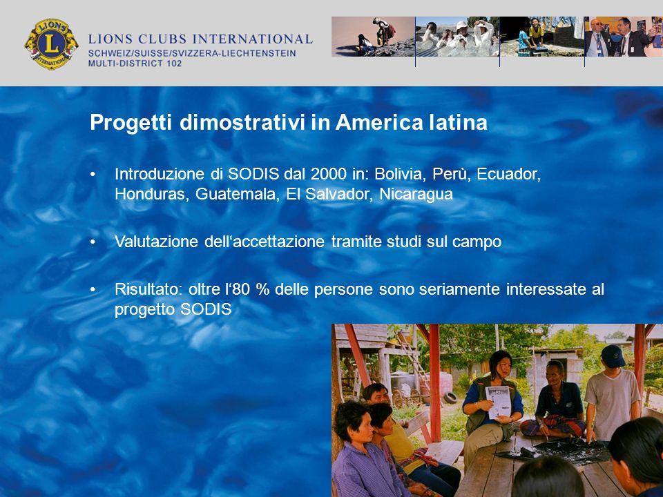Progetti dimostrativi in America latina Introduzione di SODIS dal 2000 in: Bolivia, Perù, Ecuador, Honduras, Guatemala, El Salvador, Nicaragua Valutaz