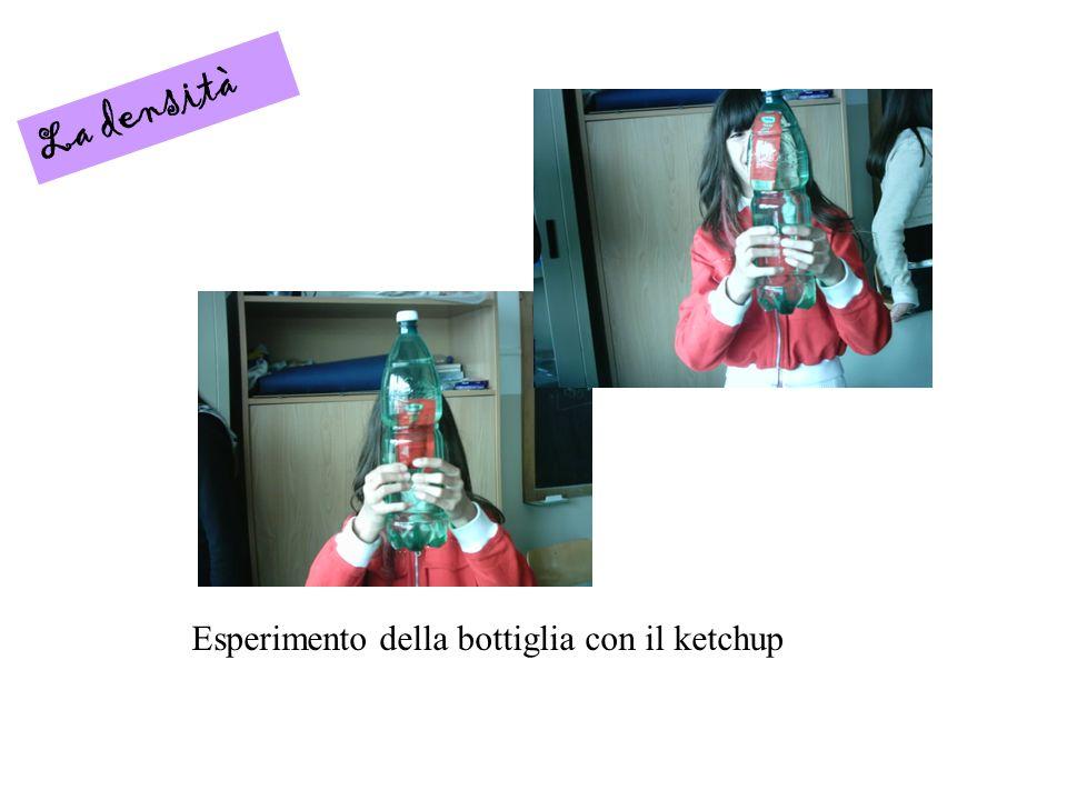 La densità Esperimento della bottiglia con il ketchup
