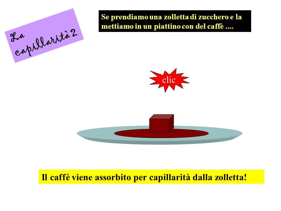 La capillarità 2 Se prendiamo una zolletta di zucchero e la mettiamo in un piattino con del caffè.... clic Il caffè viene assorbito per capillarità da