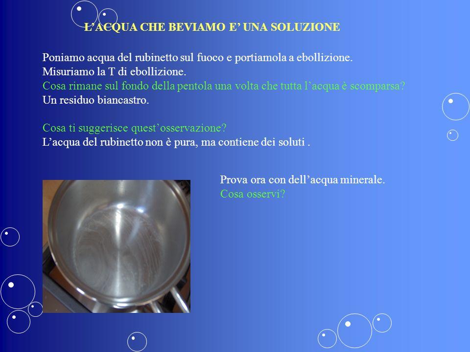 RESIDUO FISSO Anche il residuo fisso come la conduttività è legato ai sali disciolti in acqua.