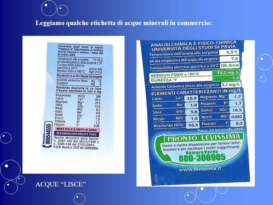 Leggiamo qualche etichetta di acque minerali in commercio: ACQUE LISCE