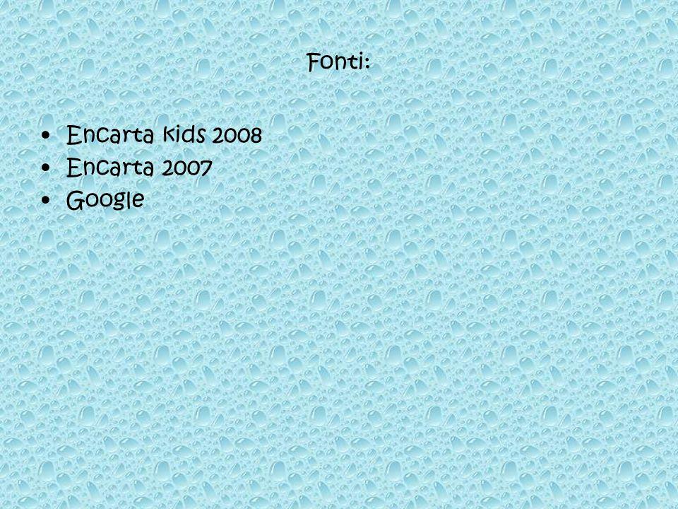 Fonti: Encarta kids 2008 Encarta 2007 Google