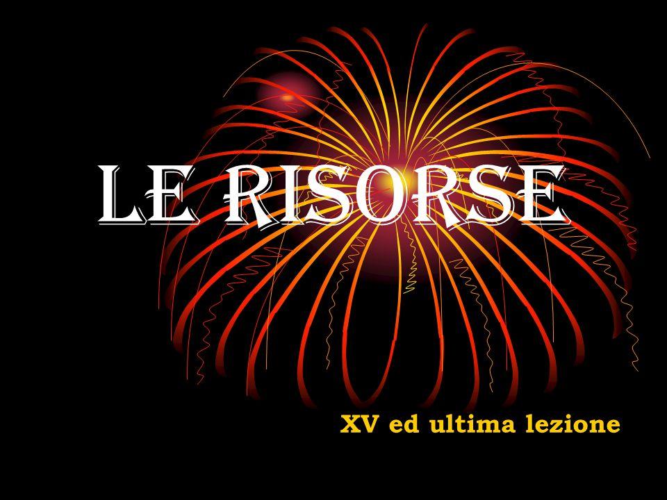 Le risorse XV ed ultima lezione