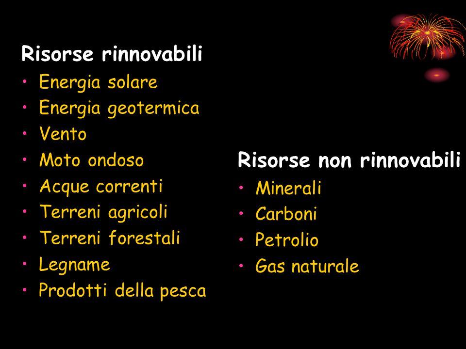 Risorse rinnovabili Energia solare Energia geotermica Vento Moto ondoso Acque correnti Terreni agricoli Terreni forestali Legname Prodotti della pesca Risorse non rinnovabili Minerali Carboni Petrolio Gas naturale