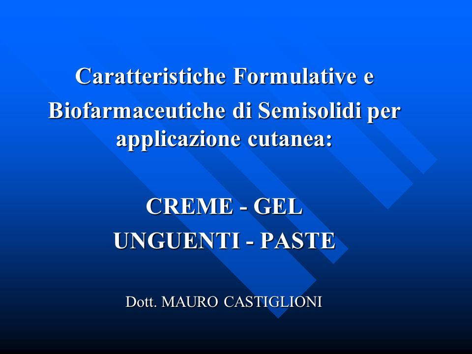 Caratteristiche Formulative e Biofarmaceutiche di Semisolidi per applicazione cutanea: CREME - GEL UNGUENTI - PASTE Dott. MAURO CASTIGLIONI