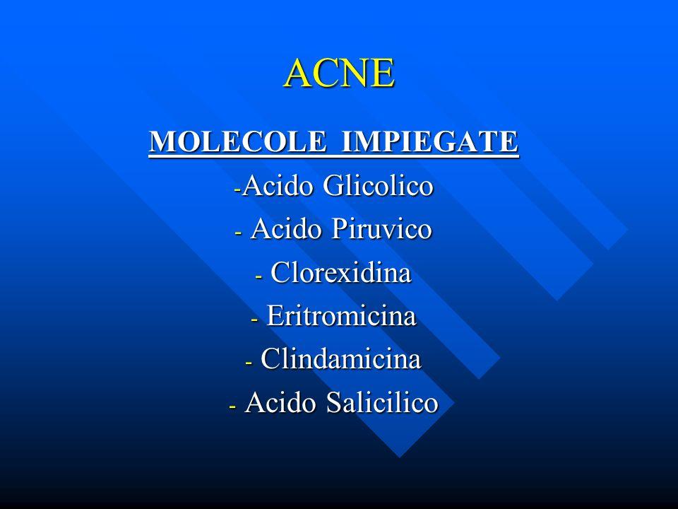 ACNE MOLECOLE IMPIEGATE - Acido Glicolico - Acido Piruvico - Clorexidina - Eritromicina - Clindamicina - Acido Salicilico