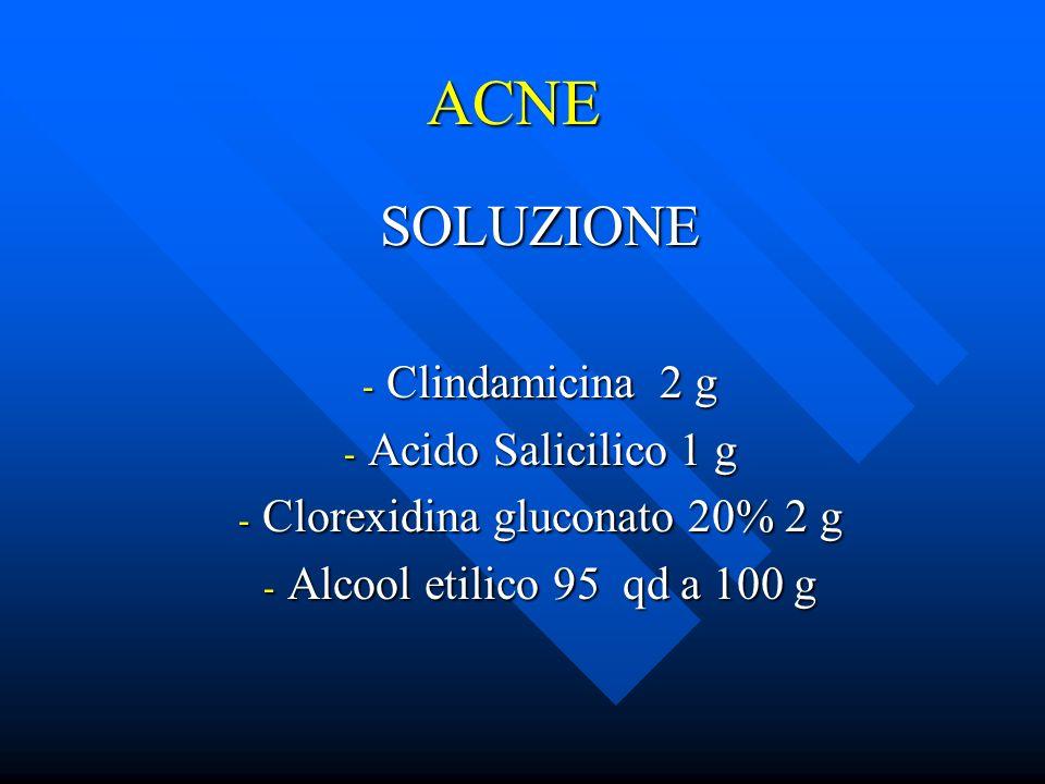 ACNE SOLUZIONE - Clindamicina 2 g - Acido Salicilico 1 g - Clorexidina gluconato 20% 2 g - Alcool etilico 95 qd a 100 g