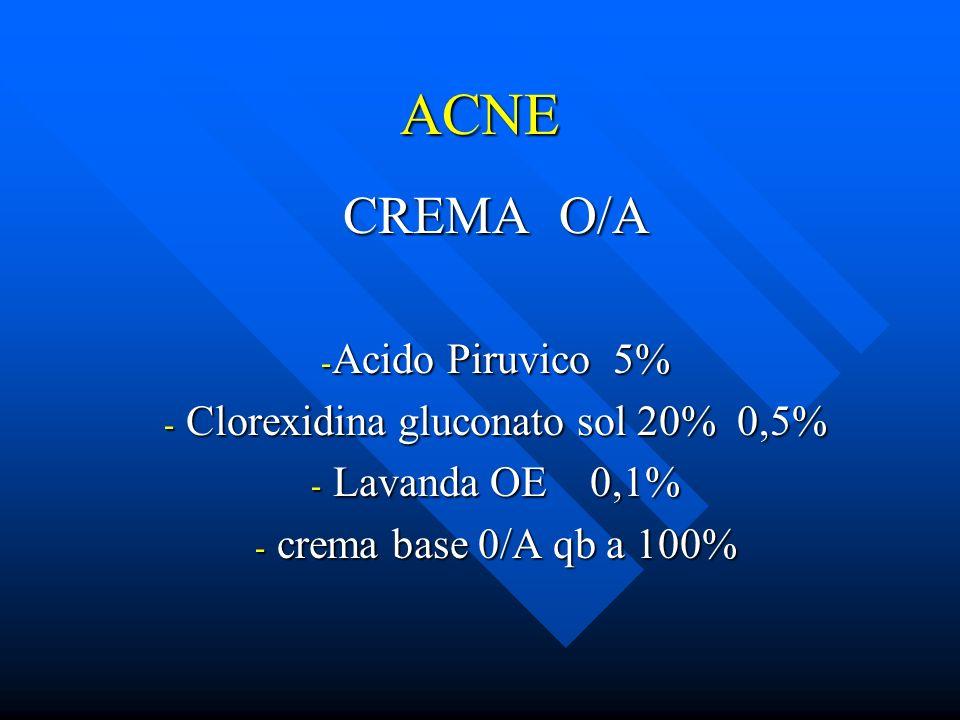 ACNE CREMA O/A - Acido Piruvico 5% - Clorexidina gluconato sol 20% 0,5% - Lavanda OE 0,1% - crema base 0/A qb a 100%