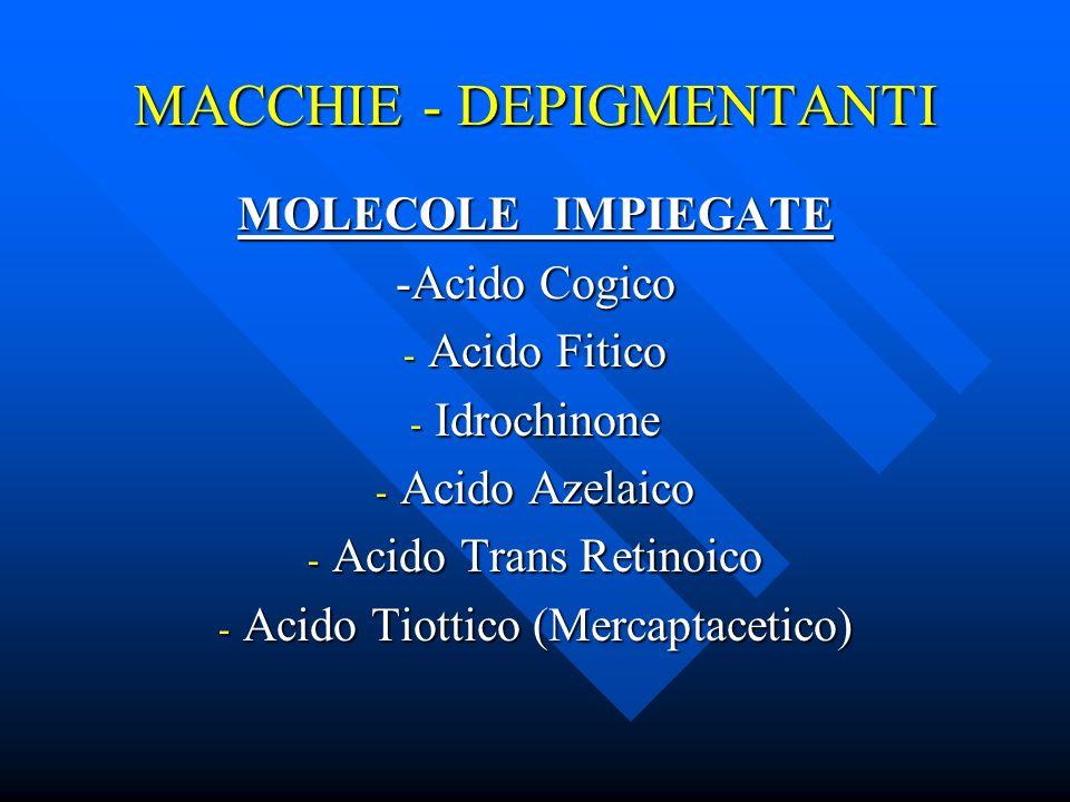 MACCHIE - DEPIGMENTANTI MOLECOLE IMPIEGATE -Acido Cogico - Acido Fitico - Idrochinone - Acido Azelaico - Acido Trans Retinoico - Acido Tiottico (Merca
