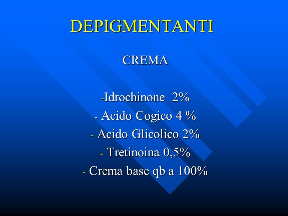 DEPIGMENTANTI CREMA - Idrochinone 2% - Acido Cogico 4 % - Acido Glicolico 2% - Tretinoina 0,5% - Crema base qb a 100%