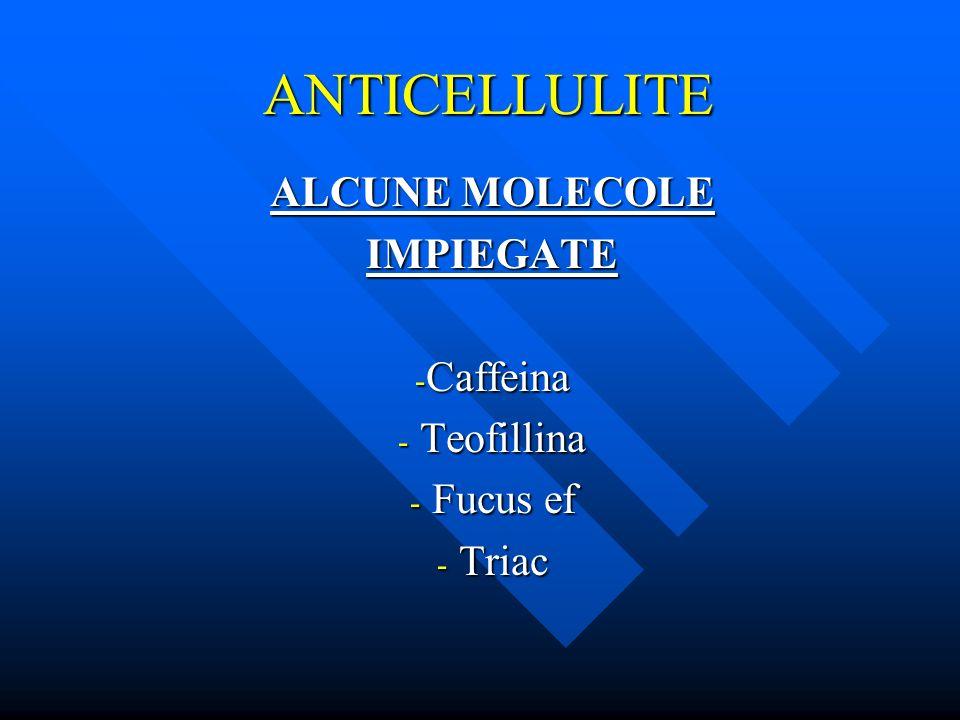 ANTICELLULITE ALCUNE MOLECOLE IMPIEGATE - Caffeina - Teofillina - Fucus ef - Triac