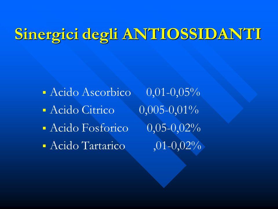 Sinergici degli ANTIOSSIDANTI Acido Ascorbico 0,01-0,05% Acido Citrico 0,005-0,01% Acido Fosforico 0,05-0,02% Acido Tartarico,01-0,02%