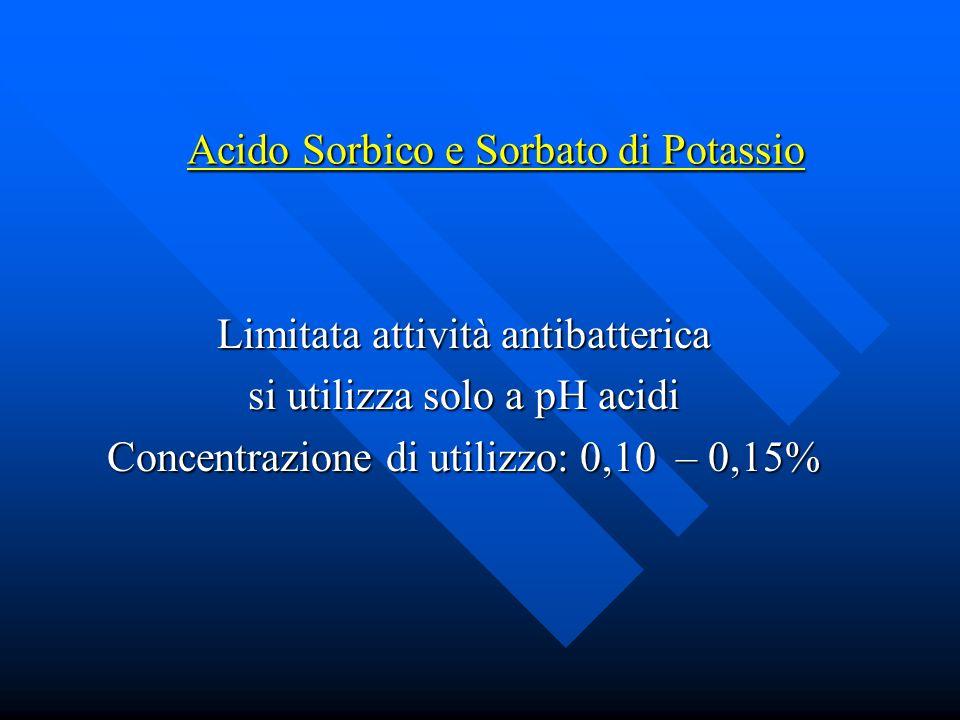 Acido Sorbico e Sorbato di Potassio Limitata attività antibatterica si utilizza solo a pH acidi Concentrazione di utilizzo: 0,10 – 0,15%