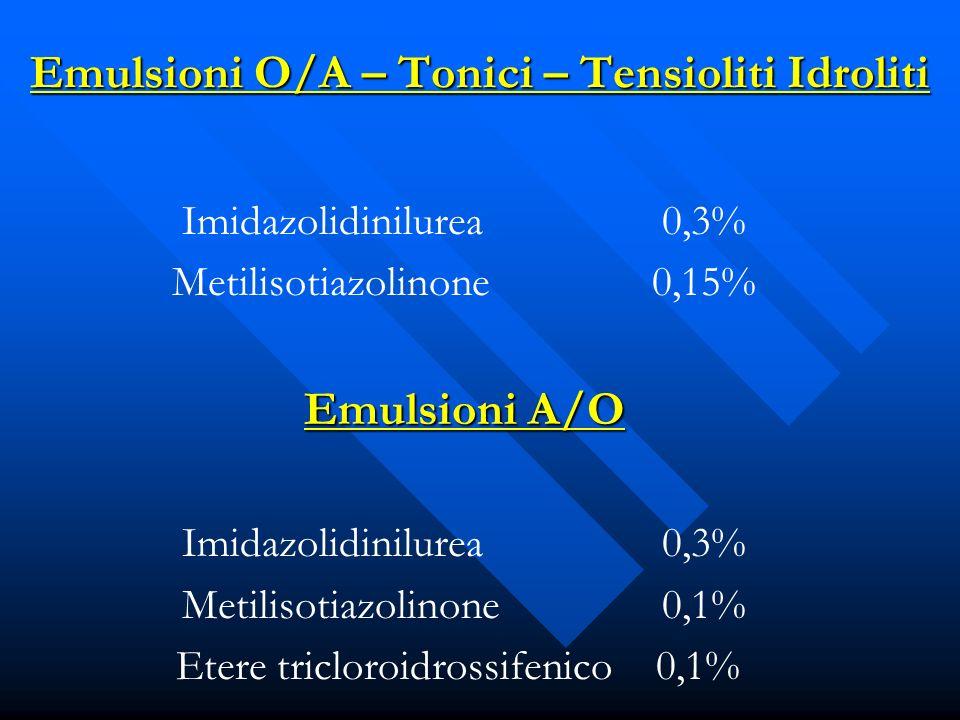 Emulsioni O/A – Tonici – Tensioliti Idroliti Imidazolidinilurea0,3% Metilisotiazolinone0,15% Emulsioni A/O Imidazolidinilurea0,3% Metilisotiazolinone0