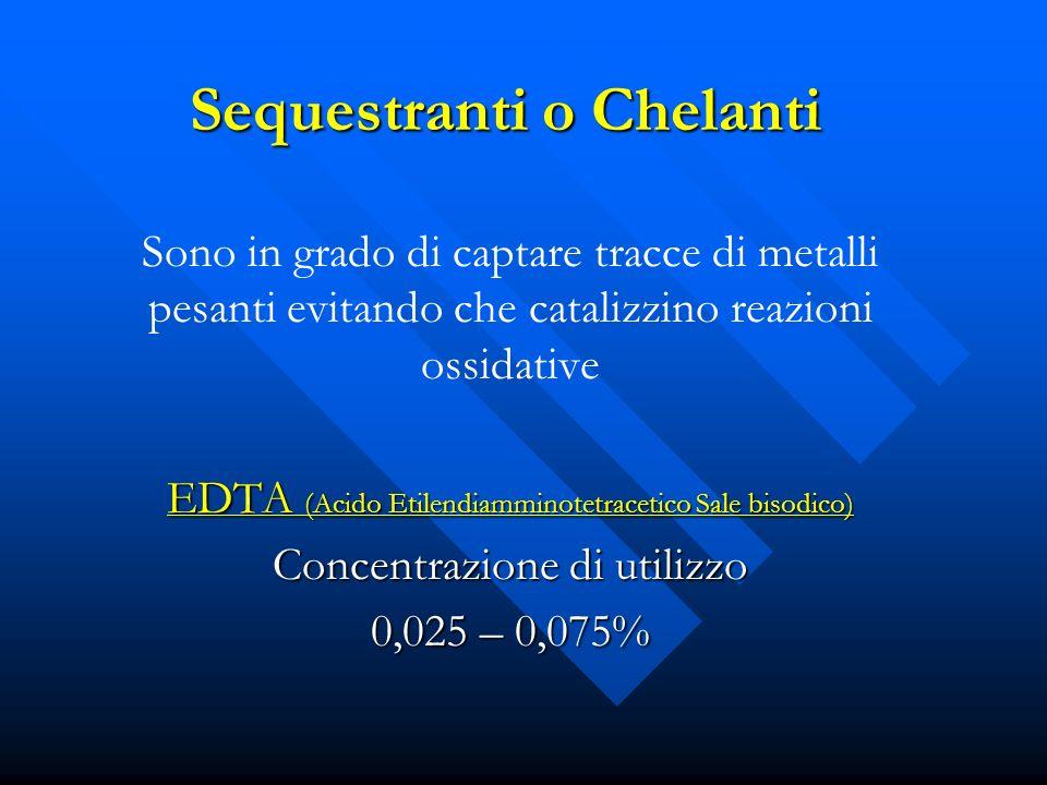 Sequestranti o Chelanti Sono in grado di captare tracce di metalli pesanti evitando che catalizzino reazioni ossidative EDTA (Acido Etilendiamminotetr