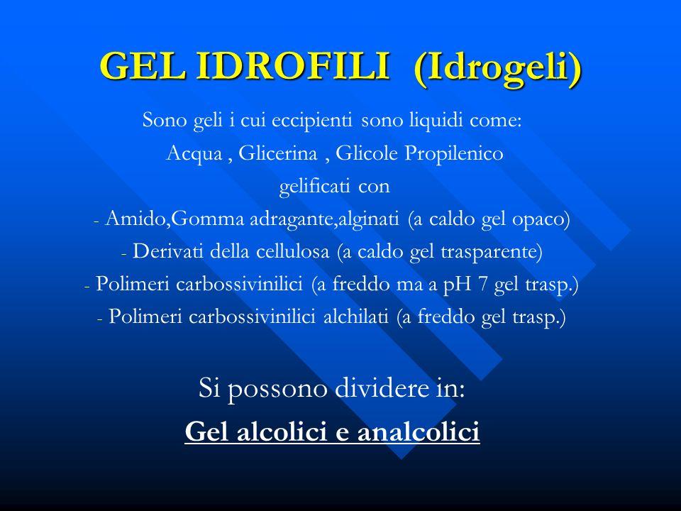 GEL IDROFILI (Idrogeli) Sono geli i cui eccipienti sono liquidi come: Acqua, Glicerina, Glicole Propilenico gelificati con - - Amido,Gomma adragante,a