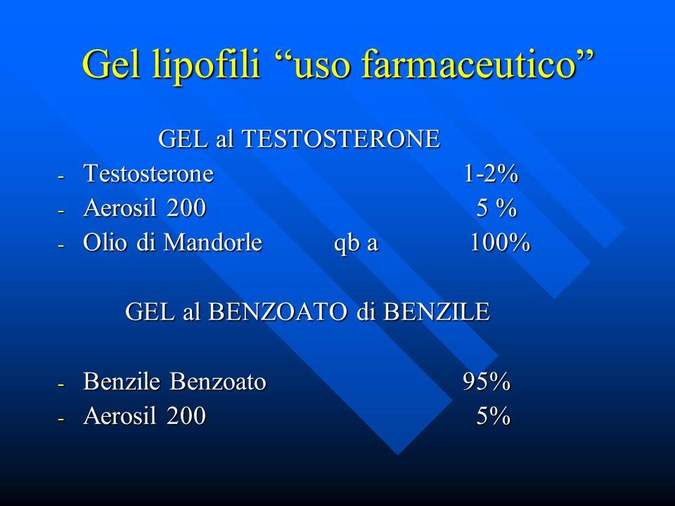 Gel lipofili uso farmaceutico GEL al TESTOSTERONE GEL al TESTOSTERONE - Testosterone1-2% - Aerosil 200 5 % - Olio di Mandorle qb a 100% GEL al BENZOAT