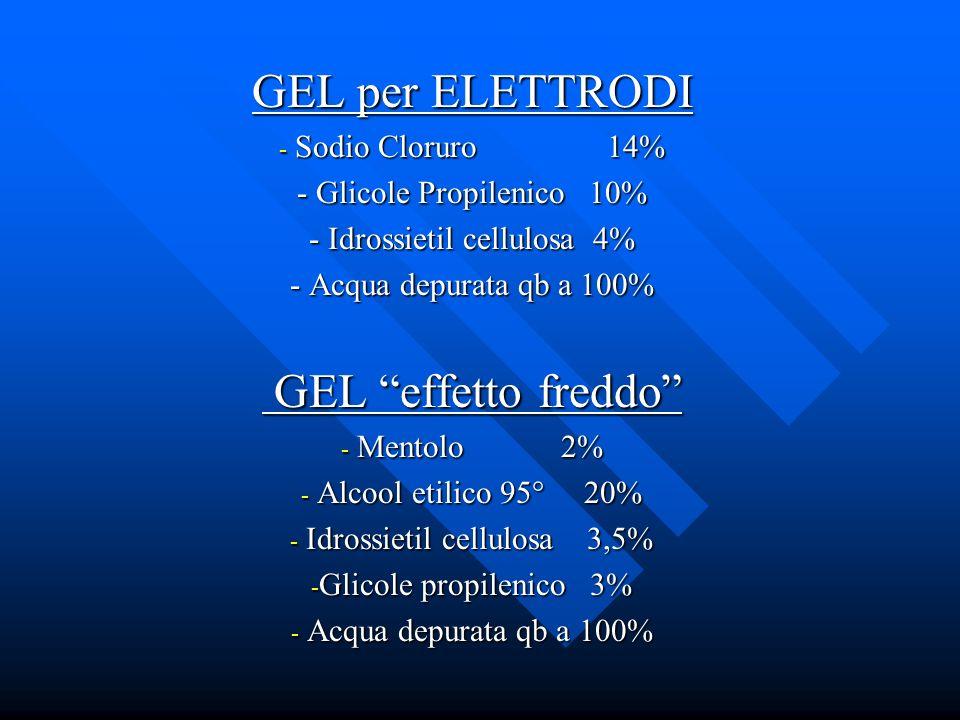 GEL per ELETTRODI - Sodio Cloruro 14% - Glicole Propilenico 10% - Idrossietil cellulosa 4% - Acqua depurata qb a 100% GEL effetto freddo GEL effetto f