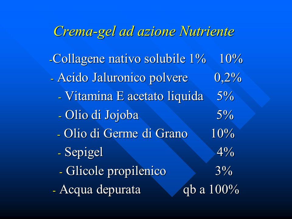 Crema-gel ad azione Nutriente - Collagene nativo solubile 1% 10% - Acido Jaluronico polvere 0,2% - Vitamina E acetato liquida 5% - Olio di Jojoba 5% -