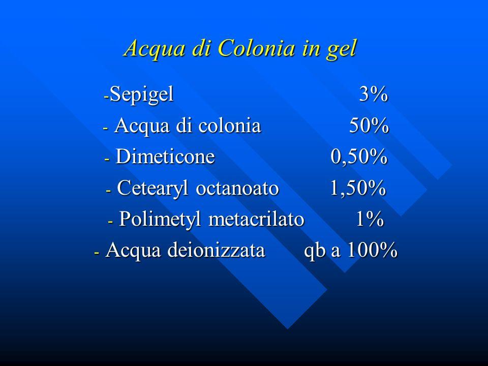 Acqua di Colonia in gel - Sepigel 3% - Acqua di colonia 50% - Dimeticone 0,50% - Cetearyl octanoato 1,50% - Polimetyl metacrilato 1% - Acqua deionizza