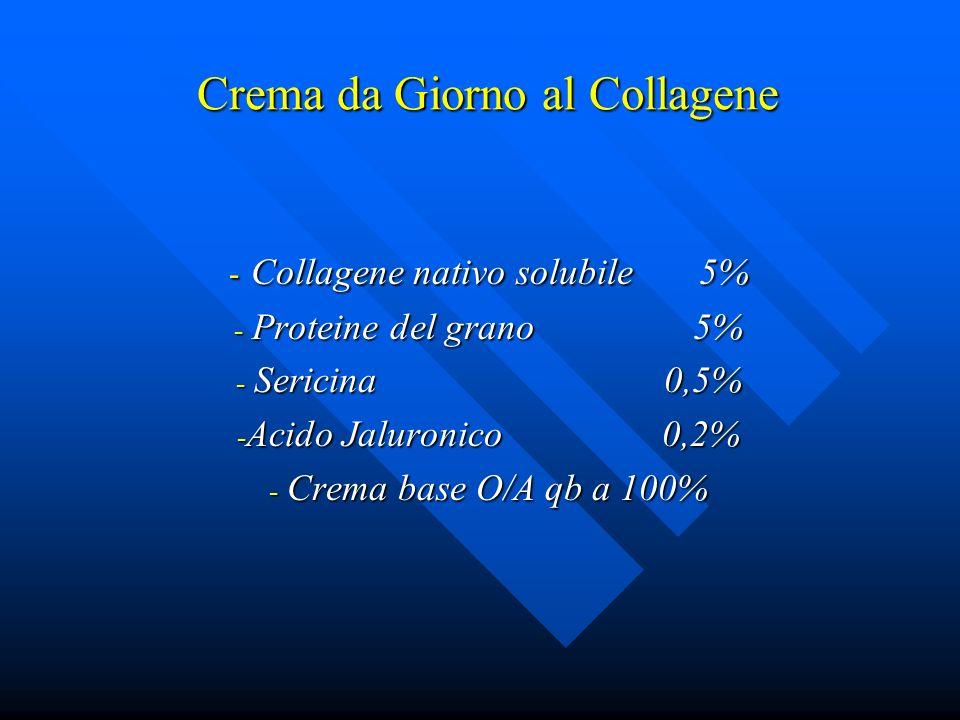 Crema da Giorno al Collagene - Collagene nativo solubile 5% - Proteine del grano 5% - Sericina 0,5% - Acido Jaluronico 0,2% - Crema base O/A qb a 100%