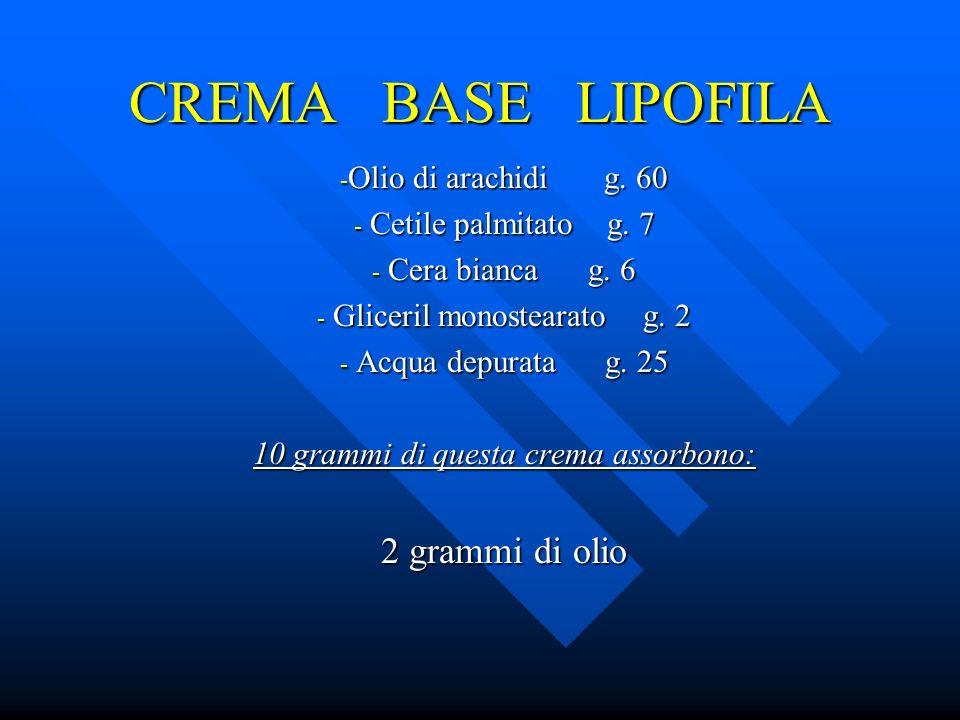 CREMA BASE LIPOFILA - Olio di arachidi g. 60 - Cetile palmitato g. 7 - Cera bianca g. 6 - Gliceril monostearato g. 2 - Acqua depurata g. 25 10 grammi