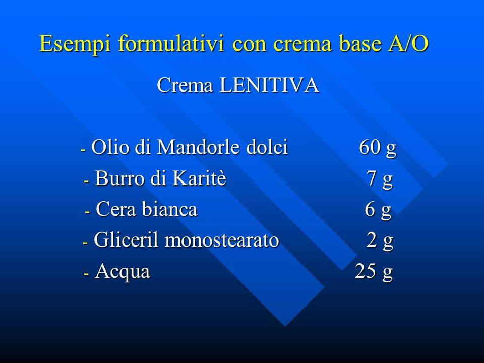 Esempi formulativi con crema base A/O Crema LENITIVA - Olio di Mandorle dolci 60 g - Burro di Karitè 7 g - Cera bianca 6 g - Gliceril monostearato 2 g