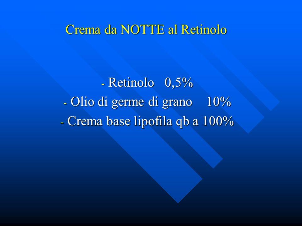 Crema da NOTTE al Retinolo - Retinolo 0,5% - Olio di germe di grano 10% - Crema base lipofila qb a 100%