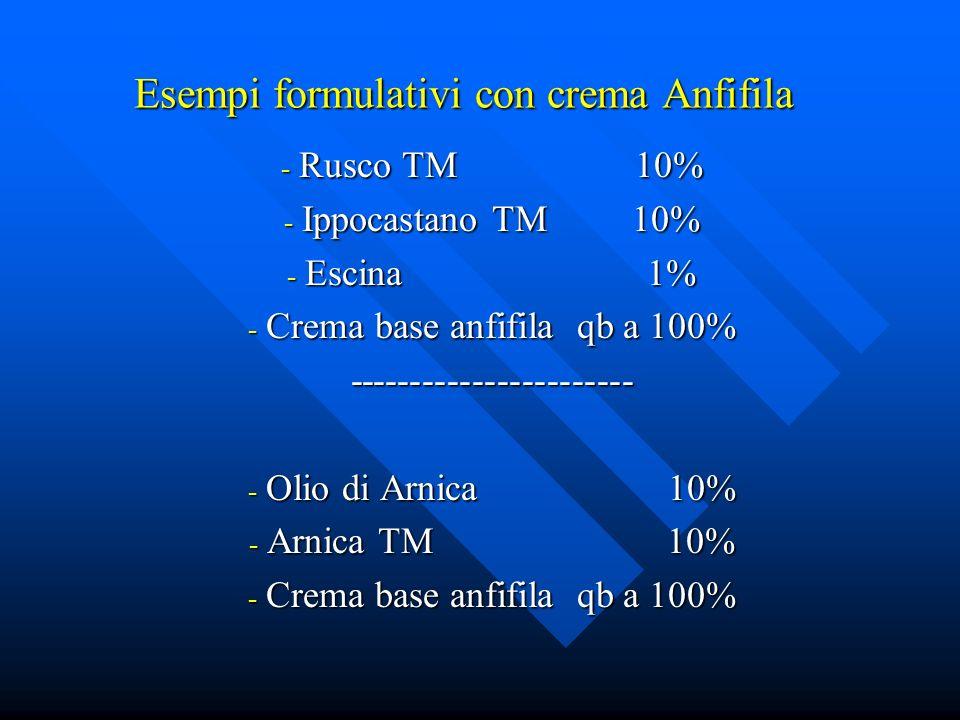 Esempi formulativi con crema Anfifila - Rusco TM 10% - Ippocastano TM 10% - Escina 1% - Crema base anfifila qb a 100% ----------------------- - Olio d