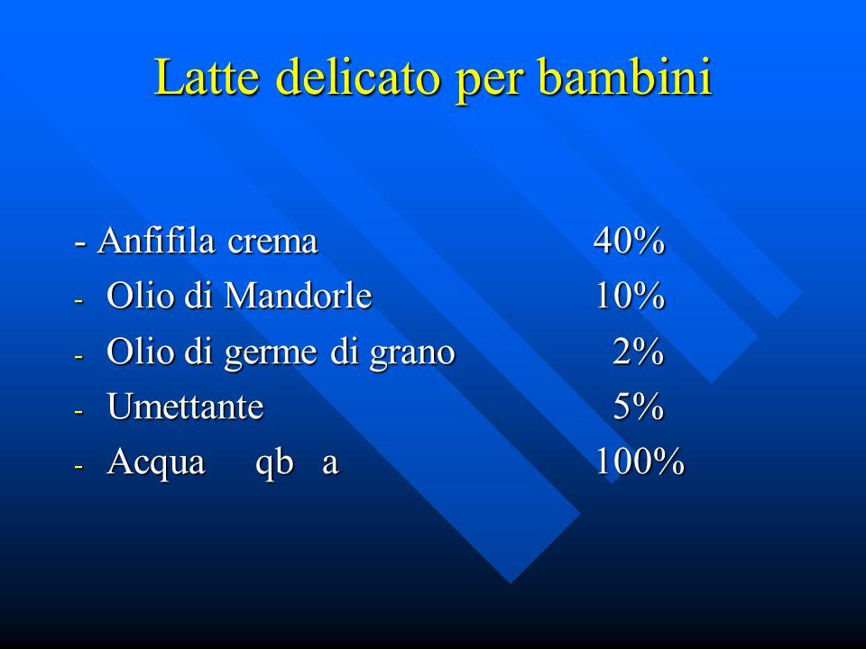 Latte delicato per bambini - Anfifila crema40% - Olio di Mandorle10% - Olio di germe di grano 2% - Umettante 5% - Acqua qb a 100%