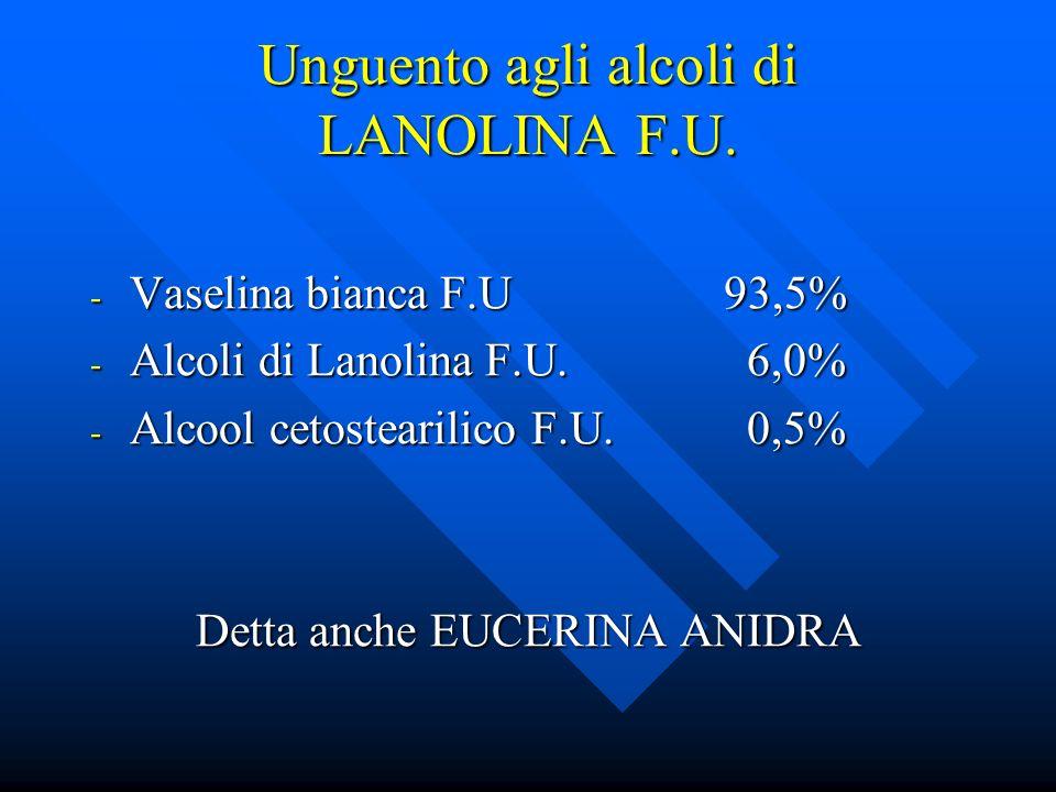 Unguento agli alcoli di LANOLINA F.U. - Vaselina bianca F.U93,5% - Alcoli di Lanolina F.U. 6,0% - Alcool cetostearilico F.U. 0,5% Detta anche EUCERINA