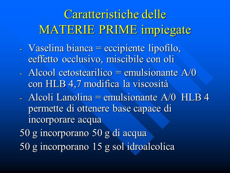 Caratteristiche delle MATERIE PRIME impiegate - Vaselina bianca = eccipiente lipofilo, eeffetto occlusivo, miscibile con oli - Alcool cetostearilico =