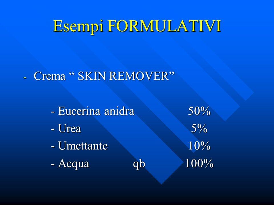 Esempi FORMULATIVI - Crema SKIN REMOVER - Eucerina anidra50% - Urea 5% - Umettante10% - Acquaqb 100%