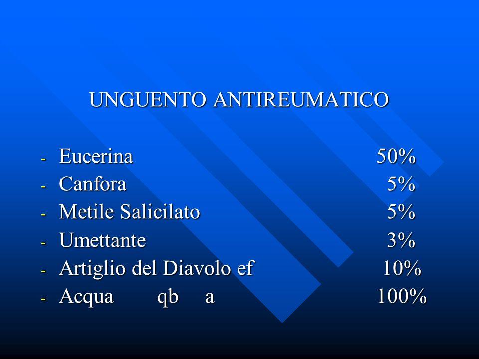 UNGUENTO ANTIREUMATICO - Eucerina50% - Canfora 5% - Metile Salicilato 5% - Umettante 3% - Artiglio del Diavolo ef 10% - Acqua qb a100%