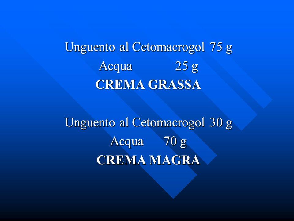 Unguento al Cetomacrogol 75 g Acqua 25 g CREMA GRASSA Unguento al Cetomacrogol 30 g Acqua 70 g CREMA MAGRA