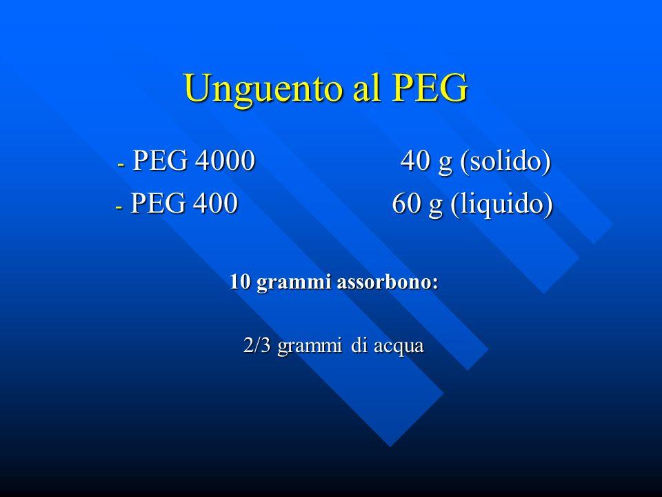 Unguento al PEG - PEG 4000 40 g (solido) - PEG 400 60 g (liquido) 10 grammi assorbono: 2/3 grammi di acqua