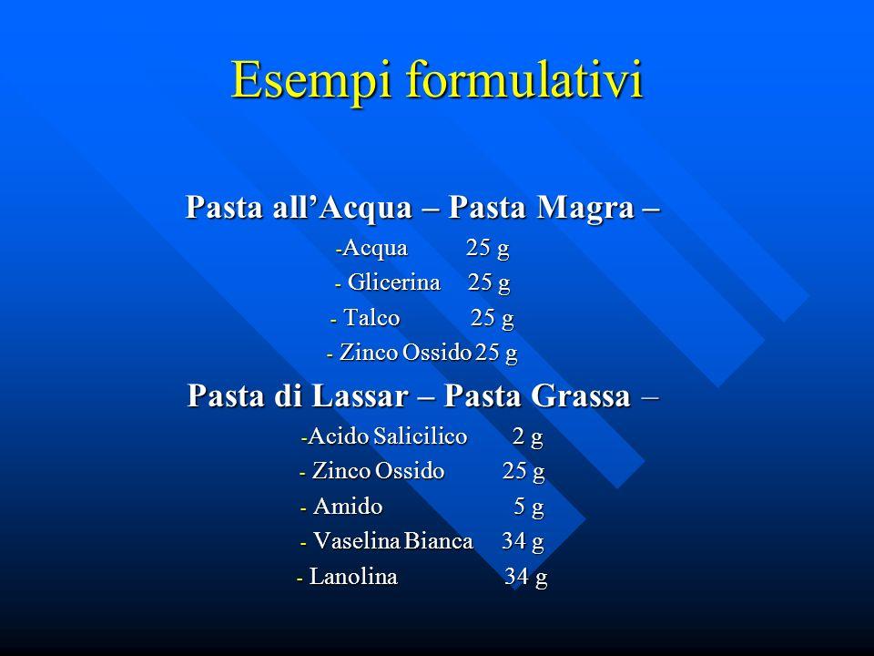 Esempi formulativi Pasta allAcqua – Pasta Magra – - Acqua 25 g - Glicerina 25 g - Talco 25 g - Zinco Ossido 25 g Pasta di Lassar – Pasta Grassa – - Ac