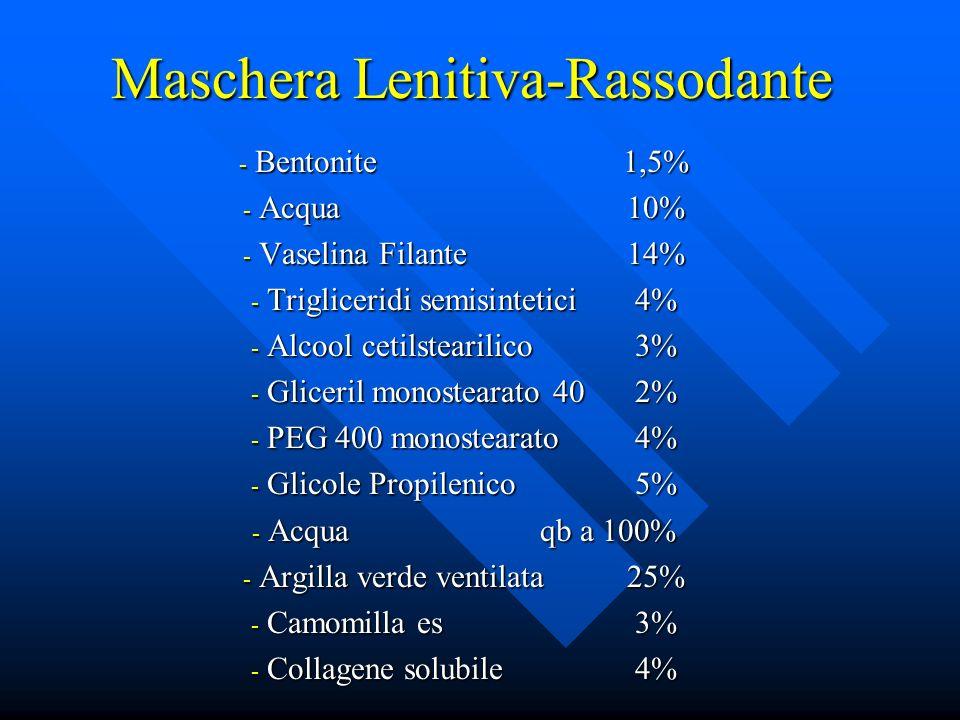 Maschera Lenitiva-Rassodante - Bentonite1,5% - Acqua10% - Vaselina Filante14% - Trigliceridi semisintetici4% - Alcool cetilstearilico3% - Gliceril mon