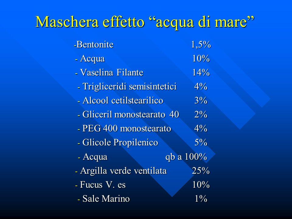 Maschera effetto acqua di mare - Bentonite1,5% - Acqua10% - Vaselina Filante14% - Trigliceridi semisintetici4% - Alcool cetilstearilico3% - Gliceril m