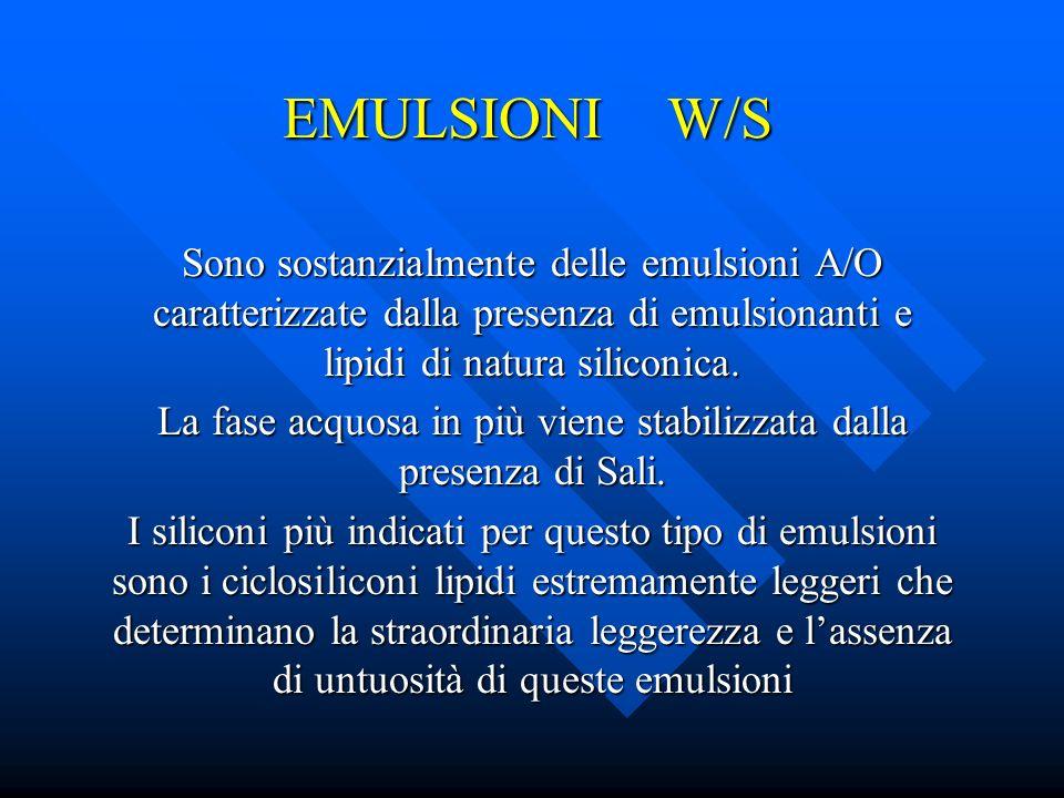 EMULSIONI W/S Sono sostanzialmente delle emulsioni A/O caratterizzate dalla presenza di emulsionanti e lipidi di natura siliconica. La fase acquosa in