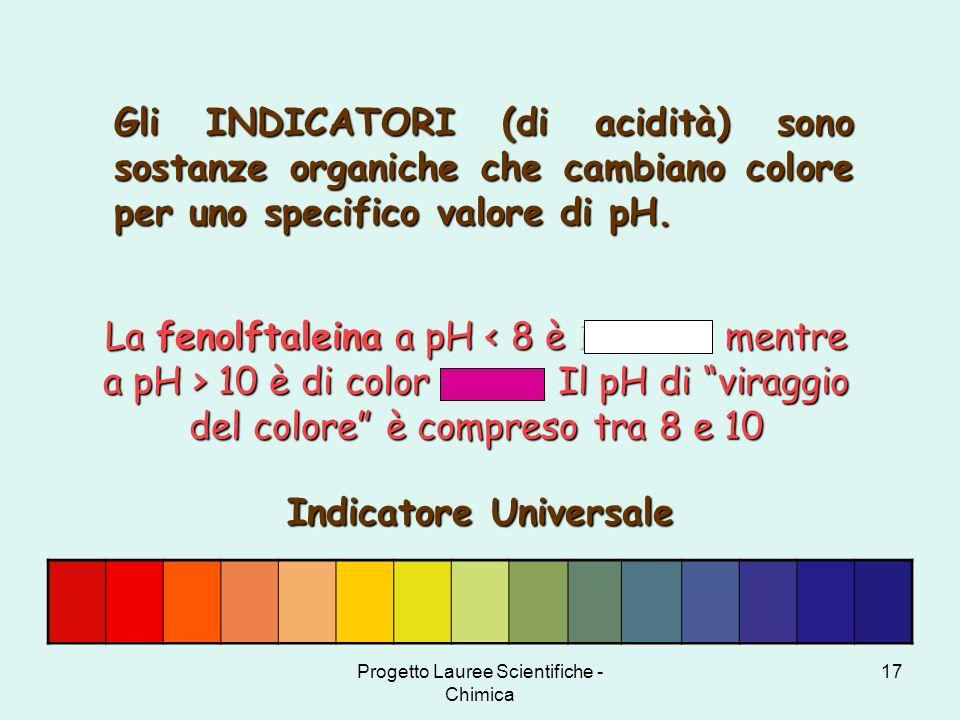 Progetto Lauree Scientifiche - Chimica 17 Gli INDICATORI (di acidità) sono sostanze organiche che cambiano colore per uno specifico valore di pH. Indi