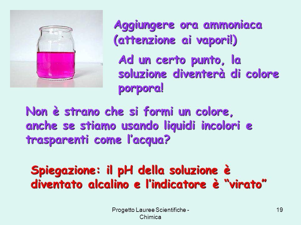 Progetto Lauree Scientifiche - Chimica 19 Non è strano che si formi un colore, anche se stiamo usando liquidi incolori e trasparenti come lacqua? Aggi
