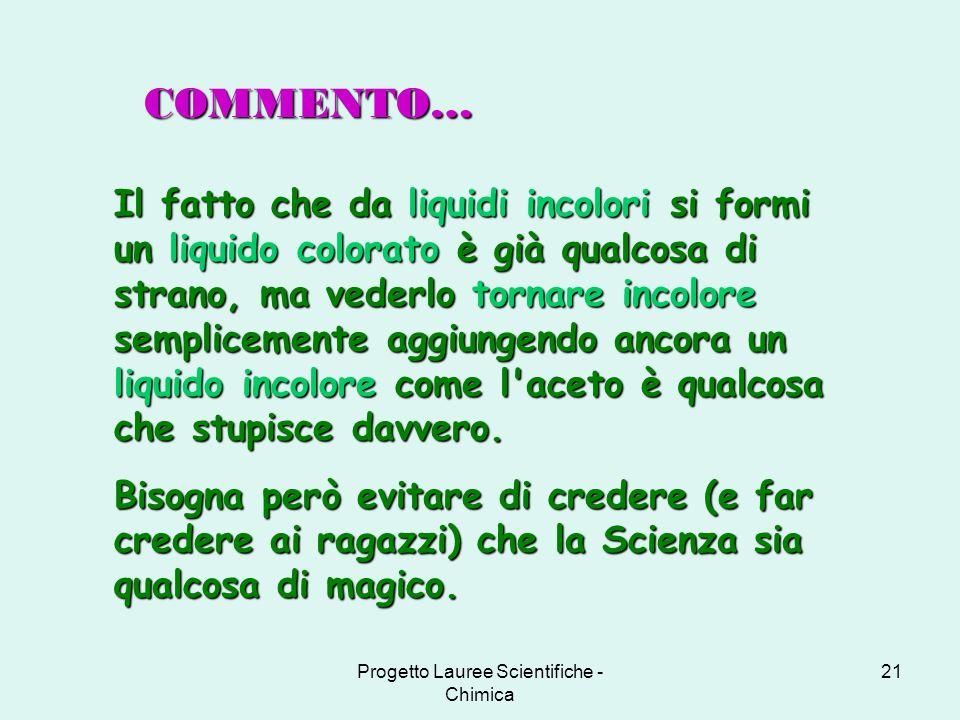 Progetto Lauree Scientifiche - Chimica 21 Il fatto che da liquidi incolori si formi un liquido colorato è già qualcosa di strano, ma vederlo tornare i