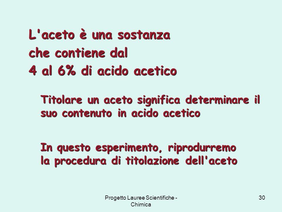 Progetto Lauree Scientifiche - Chimica 30 L'aceto è una sostanza che contiene dal 4 al 6% di acido acetico In questo esperimento, riprodurremo la proc