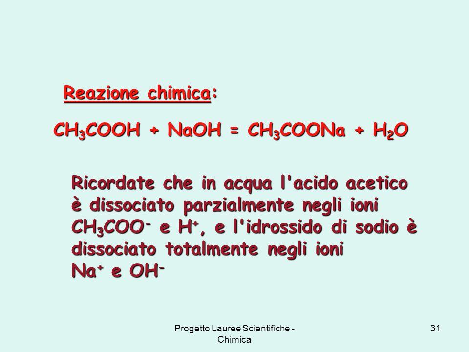 Progetto Lauree Scientifiche - Chimica 31 CH 3 COOH + NaOH = CH 3 COONa + H 2 O Reazione chimica: Ricordate che in acqua l'acido acetico è dissociato