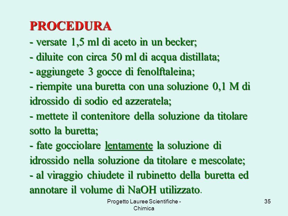 Progetto Lauree Scientifiche - Chimica 35 PROCEDURA - versate 1,5 ml di aceto in un becker; - diluite con circa 50 ml di acqua distillata; - aggiunget