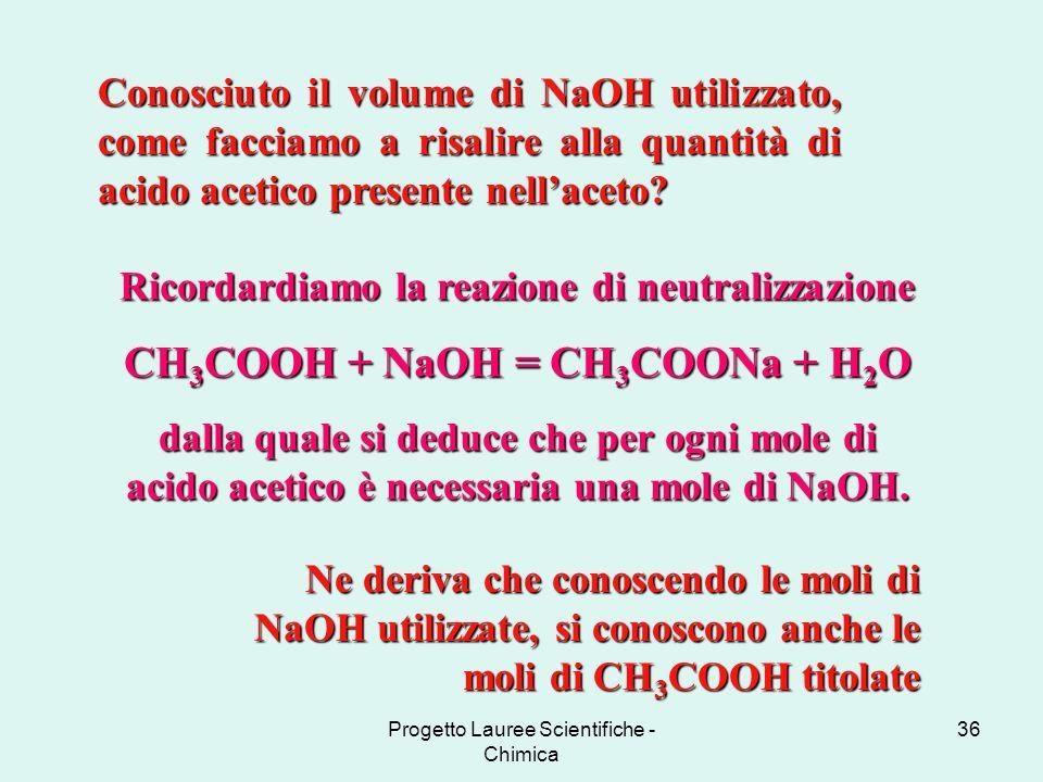 Progetto Lauree Scientifiche - Chimica 36 Conosciuto il volume di NaOH utilizzato, come facciamo a risalire alla quantità di acido acetico presente ne